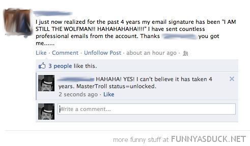 facebook status email signature wolfman funny pics pictures pic picture image photo images photos lol