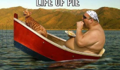 fat man sitting boat cat eating life of pie pi movie film funny pics pictures pic picture image photo images photos lol