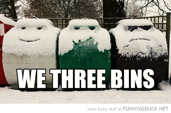 garbage snow face we three bins kings funny pics pictures pic picture image photo images photos lol