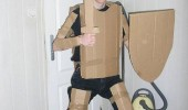 boy guy geek nerd cardboard costume sword armor shield protect virginity funny pics pictures pic picture image photo images photos lol