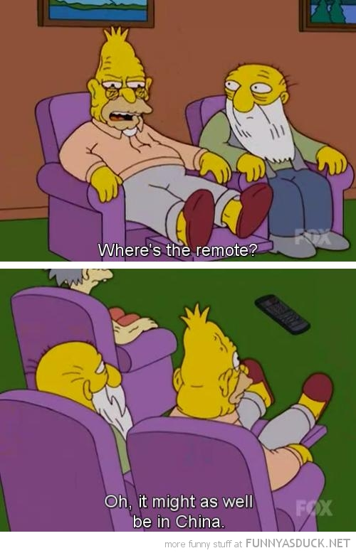 grandpa simpson tv remote may as well china scene funny pics pictures pic picture image photo images photos lol
