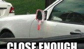 handheld mirror taped car truck close enough funny pics pictures pic picture image photo images photos lol