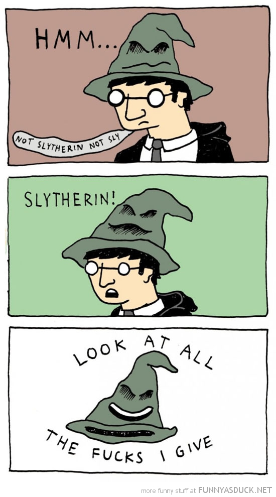 harry potter sorting hat slytherin comic look fucks give funny pics pictures pic picture image photo images photos lol
