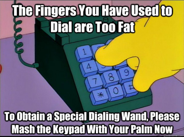 homer simpson fingers dial too fat phone dialing wand mash keypad tv scene funny pics pictures pic picture image photo images photos lol