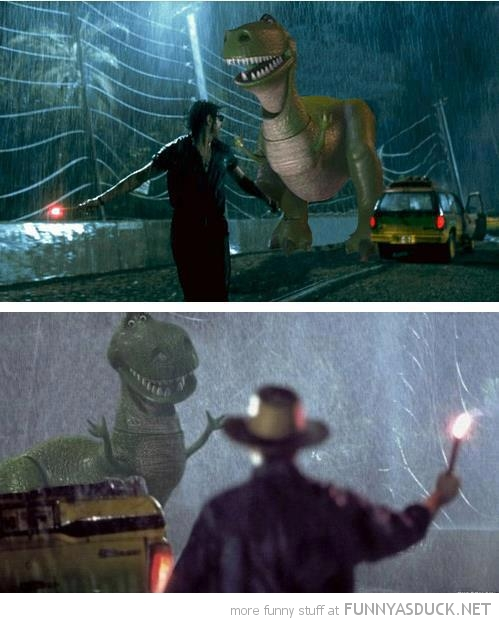 jurassic park movie scene rex toy story cameo funny pics pictures pic picture image photo images photos lol