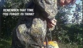 dumb man chainsaw between legs forgot to think funny pics pictures pic picture image photo images photos lol