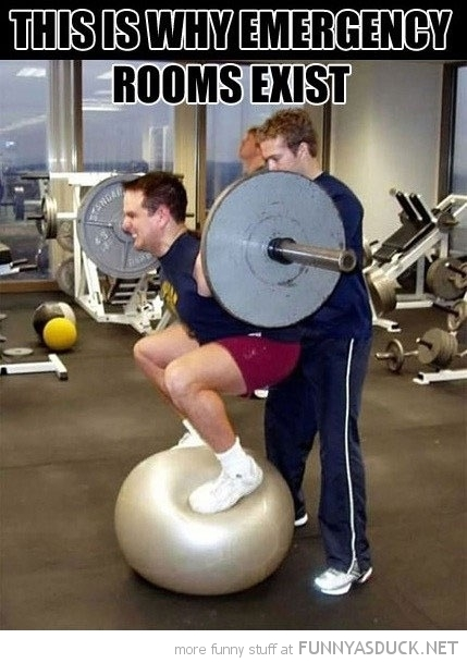 man gym weight lifting ball why emergency rooms exist funny pics pictures pic picture image photo images photos lol