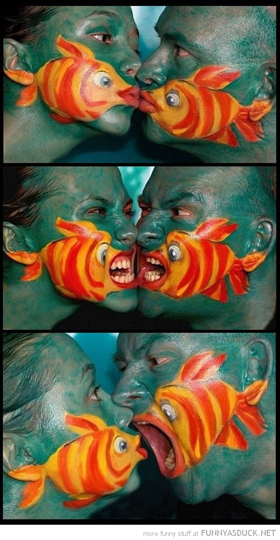 man woman fish face painting design drawing funny pics pictures pic picture image photo images photos lol
