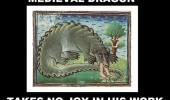 medieval dragon eating man sat no joy work funny pics pictures pic picture image photo images photos lol