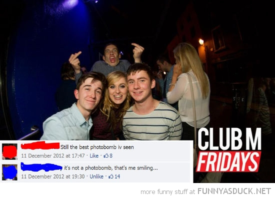 nightclub photobomb man fingers up facebook funny pics pictures pic picture image photo images photos lol
