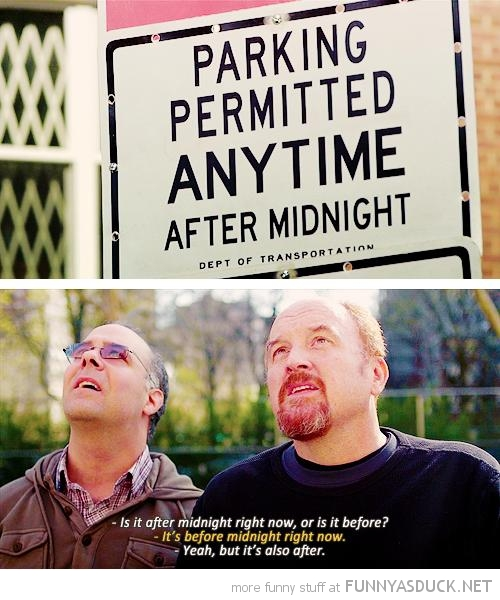 parking permitted anytime after midnight sign men confused funny pics pictures pic picture image photo images photos lol