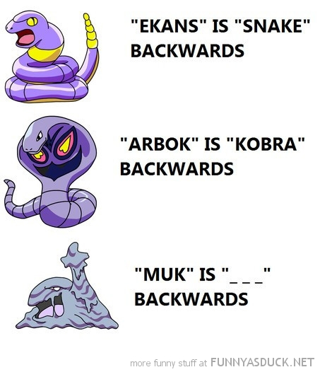 pokemon comic gaming ekans arbok muk spelled backwards funny pics pictures pic picture image photo images photos lol