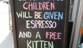 pub bar sign unattended children given coffee expresso free kitten funny pics pictures pic picture image photo images photos lol