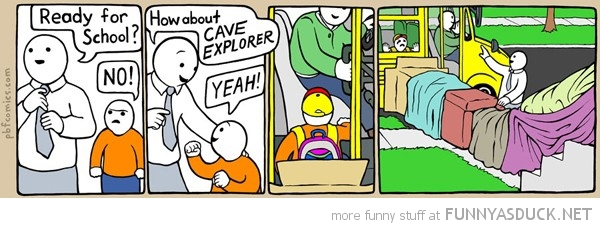 ready school kid dad cave explorer comic funny pics pictures pic picture image photo images photos lol