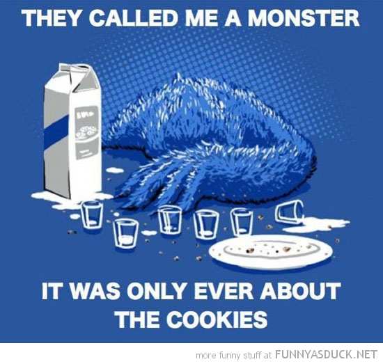 sad depressed cookie monster milk called me sesame street funny pics pictures pic picture image photo images photos lol