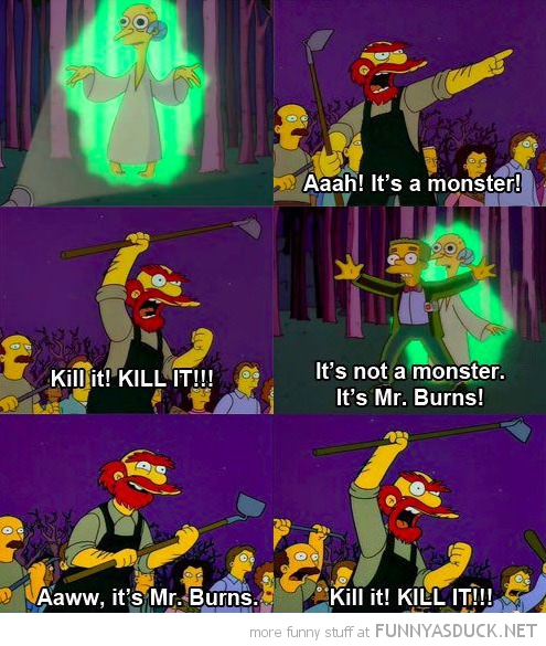 simpsons tv scene mr burns willie alien kill it funny pics pictures pic picture image photo images photos lol