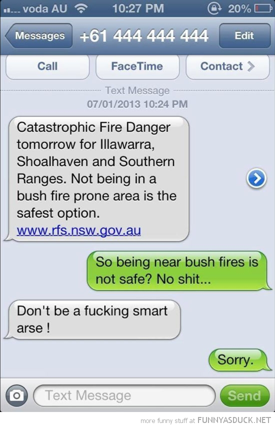 sms text iphone Australian bush fire smart ass funny pics pictures pic picture image photo images photos lol