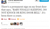 travis besecker twitter tweet baby sleeping sign door funny pics pictures pic picture image photo images photos lol