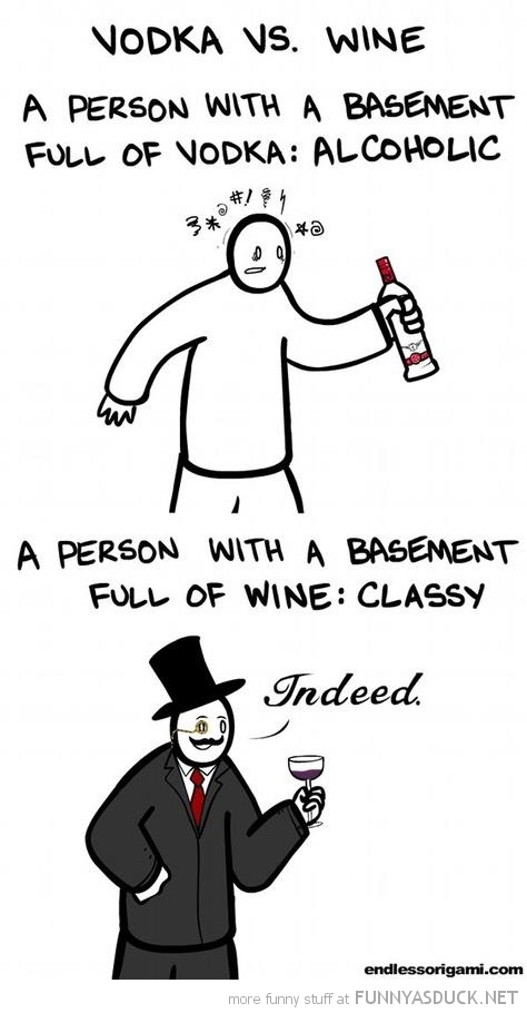 vodka vs wine basement alcoholic classy comic funny pics pictures pic picture image photo images photos lol