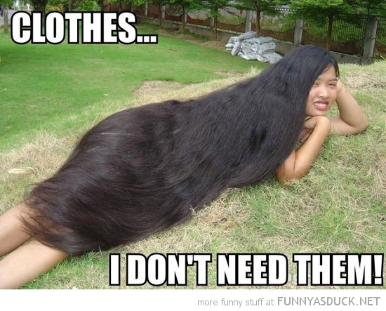 indian woman long hair covering body don't need clothes funny pics pictures pic picture image photo images photos lol