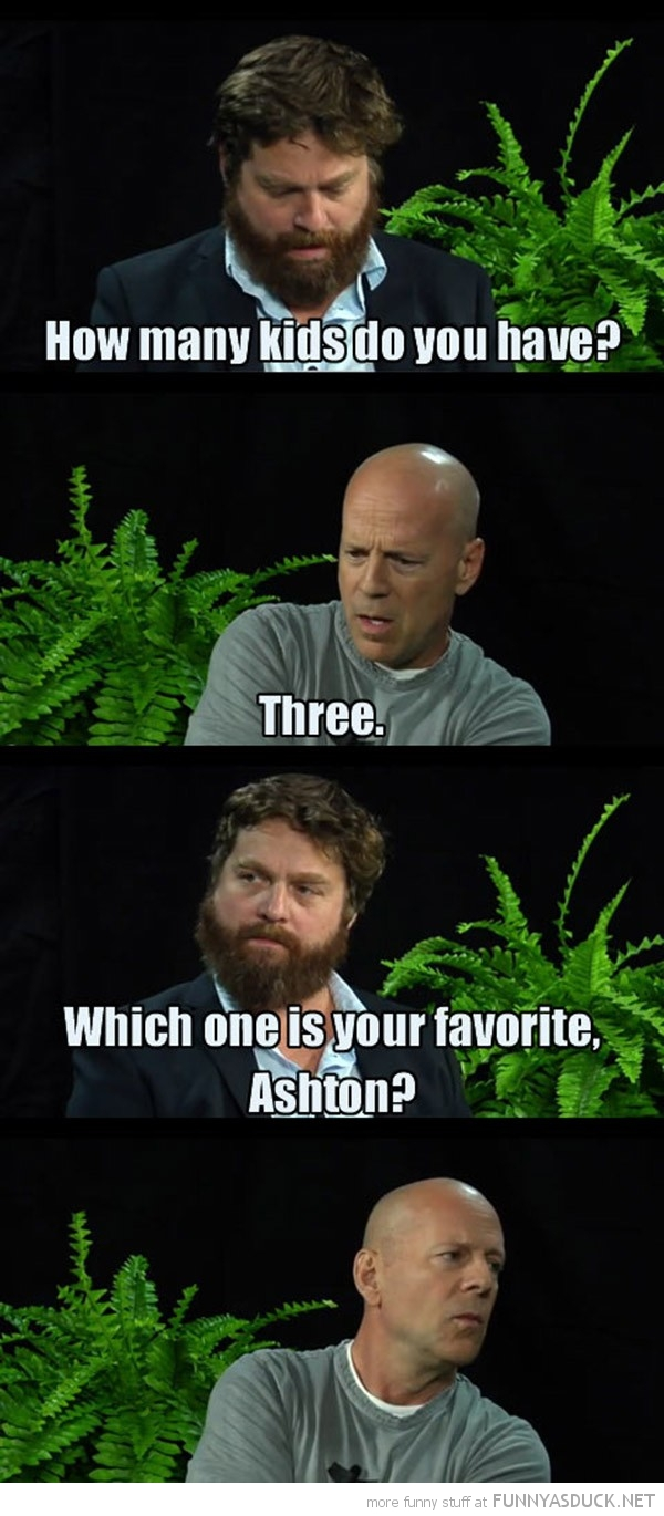 zach galifianakis bruce willis favourite kid ashton tv interview funny pics pictures pic picture image photo images photos lol