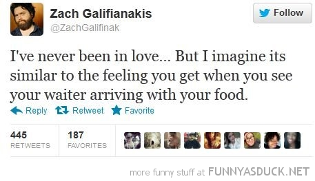 zach galifianakis twitter tweet never been love food arrives funny pics pictures pic picture image photo images photos lol