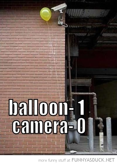 balloon floating in front security camera 1 0 funny pics pictures pic picture image photo images photos lol