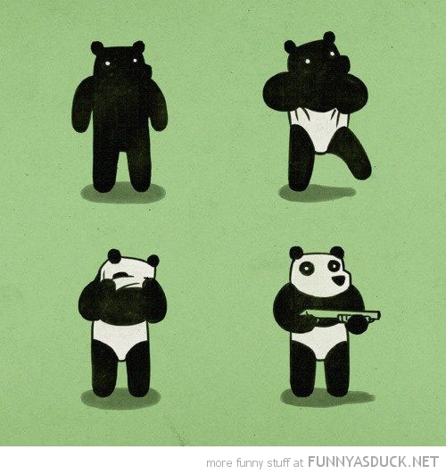 black bear panda mask robber gun comic funny pics pictures pic picture image photo images photos lol