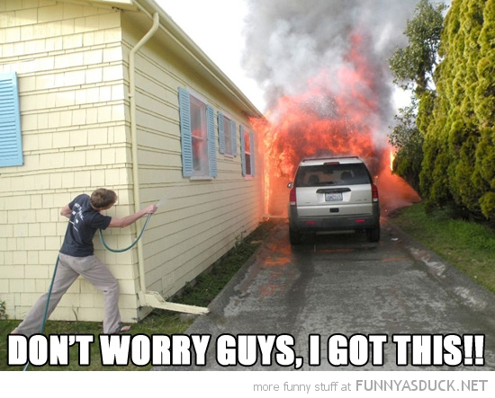 boy putting out fire water hose don't worry got this funny pics pictures pic picture image photo images photos lol