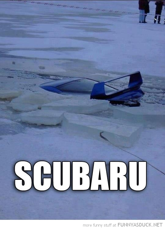 car crashed ice water subaru scubaru funny pics pictures pic picture image photo images photos lol