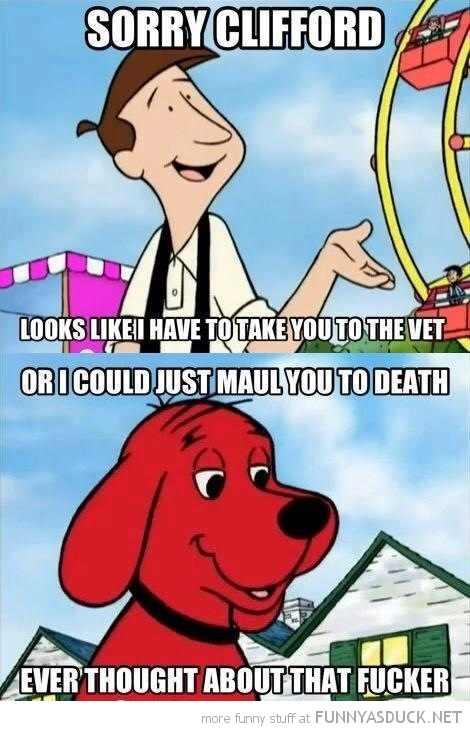 clifford red dog take vet maul you tv funny pics pictures pic picture image photo images photos lol