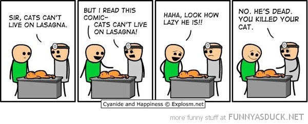 cyanide happiness comic garfield cat cant live lasagna funny pics pictures pic picture image photo images photos lol