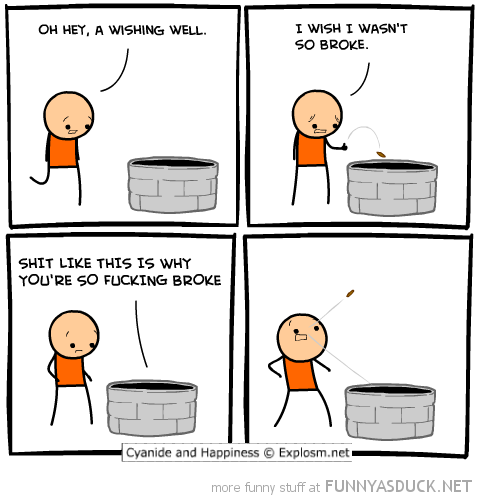 cyanide happiness comic wishing well broke funny pics pictures pic picture image photo images photos lol