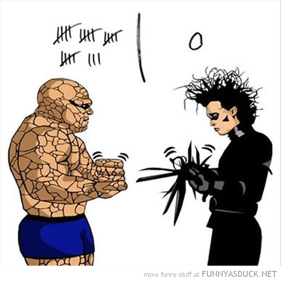 fantastic 4 comic edward scissor hands rock paper game funny pics pictures pic picture image photo images photos lol