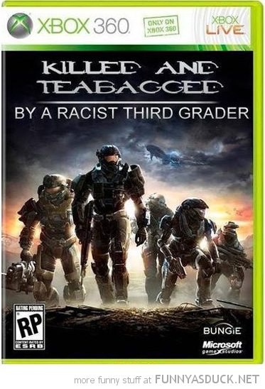 halo xbox 360 game case killed and teabagged racist third grader gaming funny pics pictures pic picture image photo images photos lol