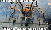 huge robot spider passport please welcome australia funny pics pictures pic picture image photo images photos lol
