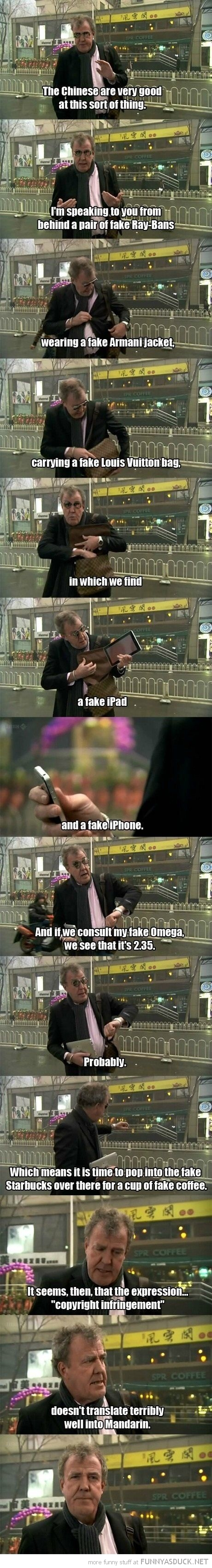 jeremy clarkson top gear chinese fake copyright infringement mandarin tv funny pics pictures pic picture image photo images photos lol