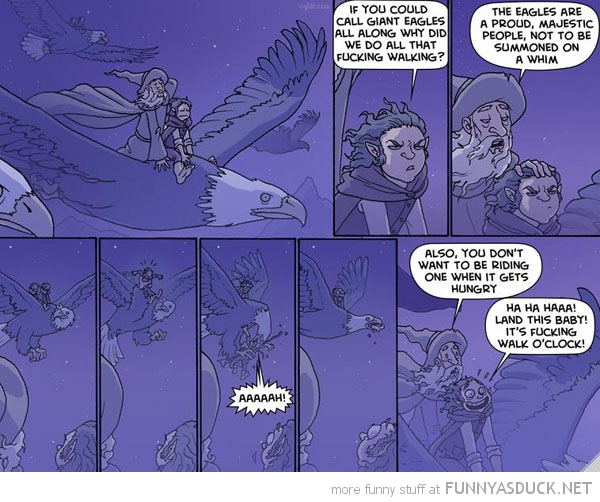 lord rings comic eagle frodo gandalf walking oclock  funny pics pictures pic picture image photo images photos lol