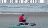 man sitting beach surf laptop computer funny pics pictures pic picture image photo images photos lol