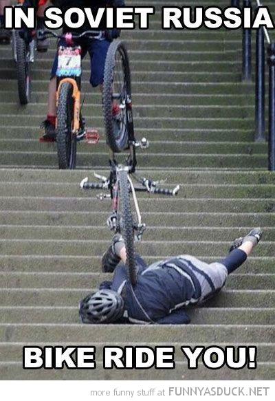 man falling down stairs soviet russia bike rides you funny pics pictures pic picture image photo images photos lol