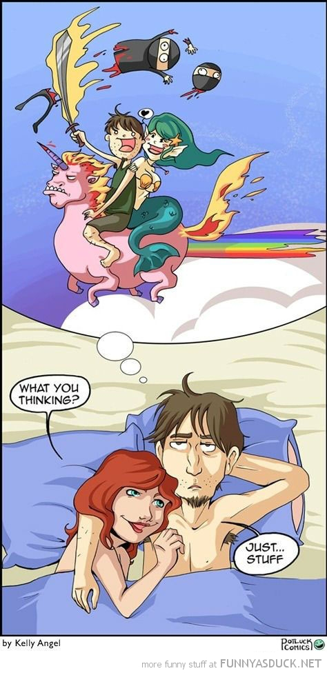 man girl bed thinking about unicorns ninjas comic funny pics pictures pic picture image photo images photos lol