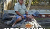 man sitting crocodile animal dont worry hat rake funny pics pictures pic picture image photo images photos lol