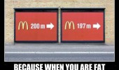 mcdonalds sign 200m when fat every meter counts funny pics pictures pic picture image photo images photos lol