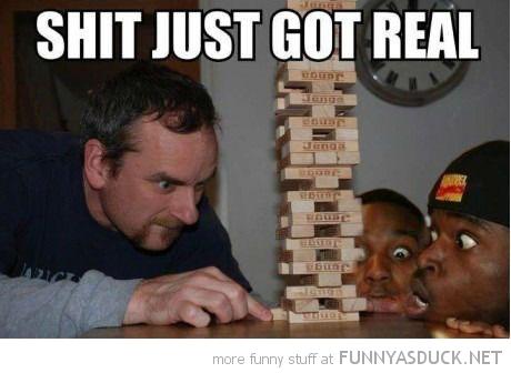 man playing jenga bottom brick shit just got real funny pics pictures pic picture image photo images photos lol