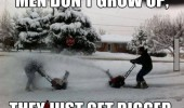 men playing snow blowers winter don't grow up get bigger funny pics pictures pic picture image photo images photos lol