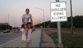 no shoulder riding sign boys men fuck police funny pics pictures pic picture image photo images photos lol