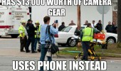$13000 worth camera gear uses phone instead photographer funny pics pictures pic picture image photo images photos lol