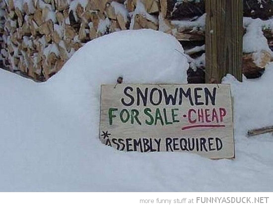 sign snowmen for sale some assembly required funny pics pictures pic picture image photo images photos lol
