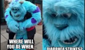 sully monsters inc shocked face where will you be diarrhea strikes funny pics pictures pic picture image photo images photos lol