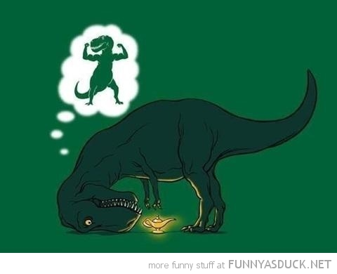 t-rex dinosaur comic little arms magic lamp genie muscles dream funny pics pictures pic picture image photo images photos lol